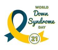 Emblema do cumprimento do dia de Síndrome de Down do mundo ilustração do vetor