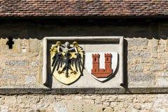 Emblema do der Tauber do ob de Rothenburg, porta de Kobolzell imagens de stock royalty free
