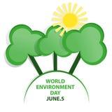 Emblema do dia de ambiente de mundo ilustração stock