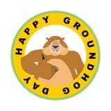 Emblema do dia de Groundhog Os polegares de Groundhog levantam e piscadelas marmota Fotografia de Stock Royalty Free