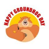Emblema do dia de Groundhog Os polegares de Groundhog levantam e piscadelas marmota Imagens de Stock Royalty Free