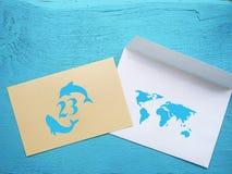 Emblema do dia do golfinho da baleia do mundo 23 de julho Foto de Stock Royalty Free