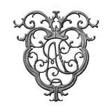 Emblema do ferro forjado de Nova Orleães foto de stock