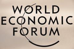 Emblema do fórum econômico de mundo em Davos Fotos de Stock