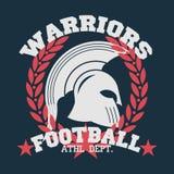 Emblema do futebol do t-shirt com grinalda do louro, esportes do t-shirt ilustração royalty free
