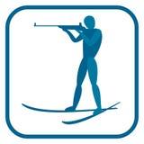Emblema do homem do Biathlon Foto de Stock Royalty Free