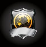 Emblema do metal - sinal do globo Foto de Stock