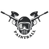 Emblema do Paintball - máscara e marcadores Fotos de Stock Royalty Free