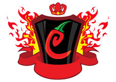 Emblema do pimentão com bandeira Imagem de Stock