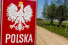 Emblema do polonês na beira. fotografia de stock royalty free