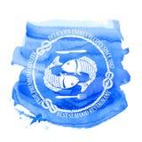 Emblema do restaurante do marisco com peixes Imagem de Stock Royalty Free