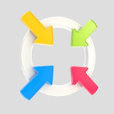 Emblema do símbolo da atenção da seta isolado Fotografia de Stock Royalty Free