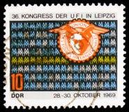 Emblema do UFI, serie do congresso de UFI, cerca de 1969 foto de stock