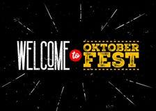 Emblema do vetor de Octoberfest Boa vinda à inscrição de Oktoberfest Foto de Stock Royalty Free