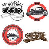 Emblema do vintage com carros retros Fotografia de Stock