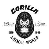Emblema do vintage do vetor do gorila ou cópia da camisa de t imagem de stock