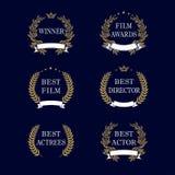 Emblema dorato dell'alloro del migliore premio del film illustrazione vettoriale
