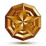 Emblema dourado da estrela do vetor sofisticado, projeto 3d decorativo Fotos de Stock