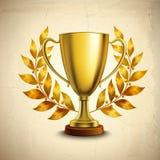 Emblema dourado do troféu Fotos de Stock