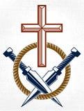 Emblema dramático ou logotipo do gângster criminoso com Christian Cross que simboliza a morte, tatuagem do estilo do vintage do v ilustração stock