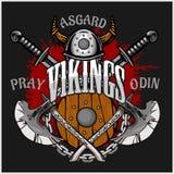 Emblema e logos di Viking più gli elementi isolati Fotografia Stock
