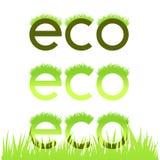 Emblema ecológico gramíneo isolado no branco Imagens de Stock