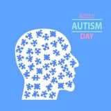 Emblema fatto dai pezzi di puzzle e dai colori di autismo Fotografia Stock