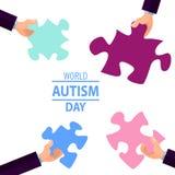 Emblema fatto dai pezzi di puzzle e dai colori di autismo Fotografia Stock Libera da Diritti