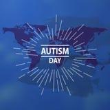 Emblema fatto dai pezzi di puzzle e dai colori di autismo Immagine Stock