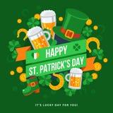 Emblema feliz de la tipografía del día del St Patricks Foto de archivo