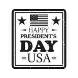 Emblema feliz del día de los presidentes en estilo del monocromo del vintage ilustración del vector