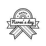 Emblema feliz del saludo del día de las enfermeras ilustración del vector