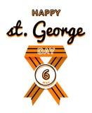 Emblema feliz del saludo del día de San Jorge Foto de archivo libre de regalías