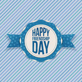 Emblema feliz do cumprimento do dia da amizade Fotografia de Stock Royalty Free