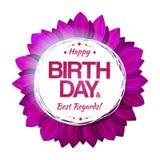 Emblema floral del cumpleaños púrpura Imágenes de archivo libres de regalías