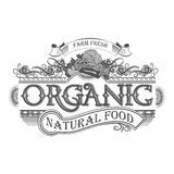Emblema fresco della retro azienda agricola di vettore Logo d'annata dell'alimento biologico Fotografie Stock Libere da Diritti