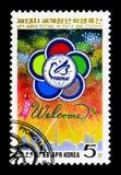 Emblema, fuochi d'artificio, tredicesimo festival del mondo della gioventù e studenti, PY Fotografia Stock