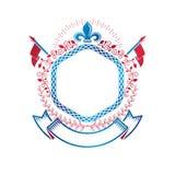 Emblema gráfico compuesto con el símbolo real Lily Flower, wr del laurel stock de ilustración