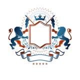 Emblema gráfico compuesto con Lion King, la corona valientes del monarca y stock de ilustración