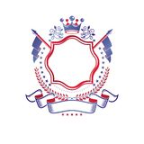 Emblema gráfico compuesto usando la corona y banderas majestuosas Vector aislado logotipo decorativo heráldico del escudo de arma ilustración del vector