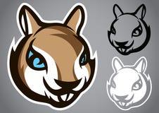 Emblema grigio capo di vettore di logo dello scoiattolo Fotografia Stock