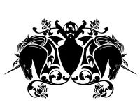 Emblema heráldico de los caballos del unicornio y de las flores color de rosa Imágenes de archivo libres de regalías