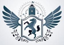 Emblema heráldico decorativo del vector del vintage compuesto con el caballo Foto de archivo