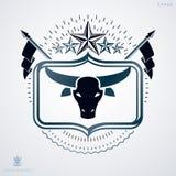Emblema heráldico decorativo del vector del vintage compuesto con el ejemplo principal del toro libre illustration