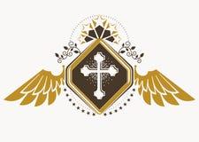 Emblema heráldico decorativo do vetor do vintage composto com wi da águia Imagens de Stock