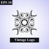 Emblema islámico ornamental del vintage Ilustración del diseño floral element Símbolo geométrico del art déco Línea insignias, lo ilustración del vector