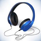 Emblema isolado azul dos fones de ouvido Fotos de Stock Royalty Free