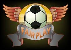 Emblema justo do jogo do futebol no fundo escuro Imagem de Stock Royalty Free