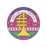 Emblema linear colorido con la trompeta Logotipo abstracto para el concierto vivo del jazz Diseño original del vector para el fes