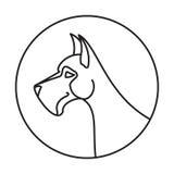 Emblema lineare con il cane Immagini Stock Libere da Diritti